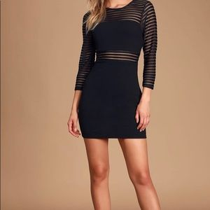 NEW Lulus Black Bodycon Mesh dress